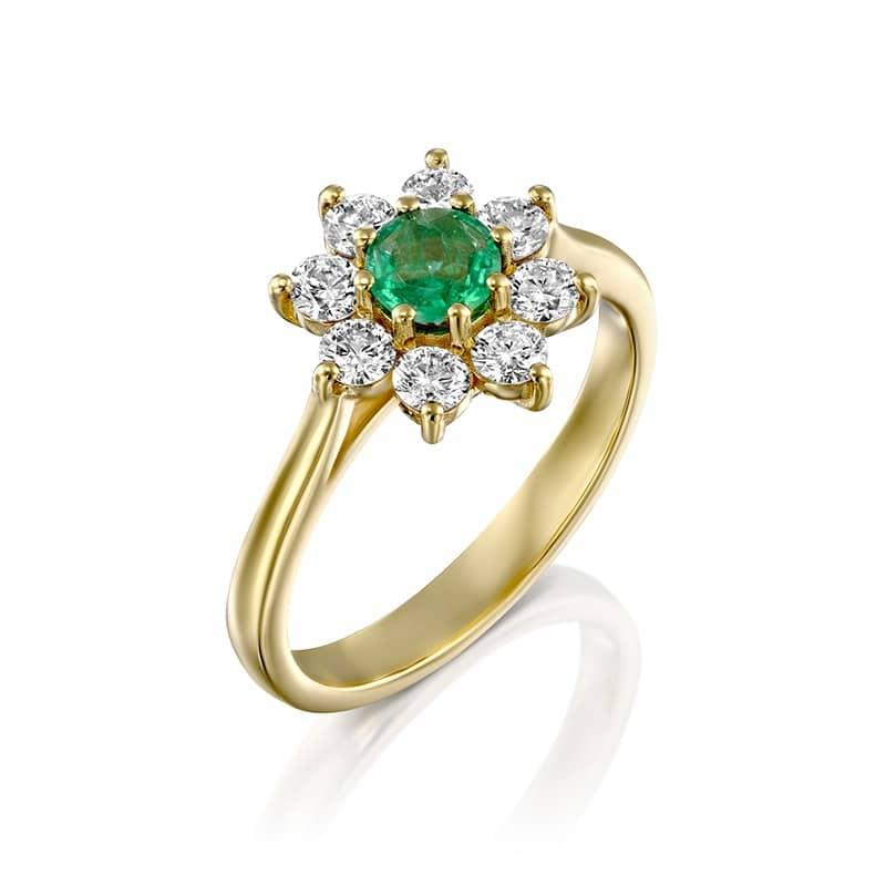 טבעת סטייל דיאנה אמרלד טבעי ויהלומים זהב צהוב