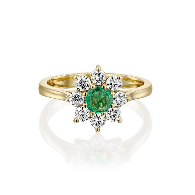 טבעת אמרלד טבעי ויהלומים זהב צהוב