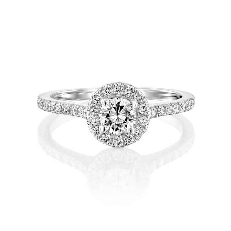 טבעת אירוסין ויגו זהב לבן, 0.81 קראט