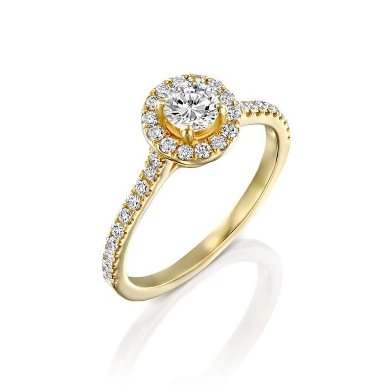 טבעת אירוסין ויגו זהב צהוב, 0.81 קראט