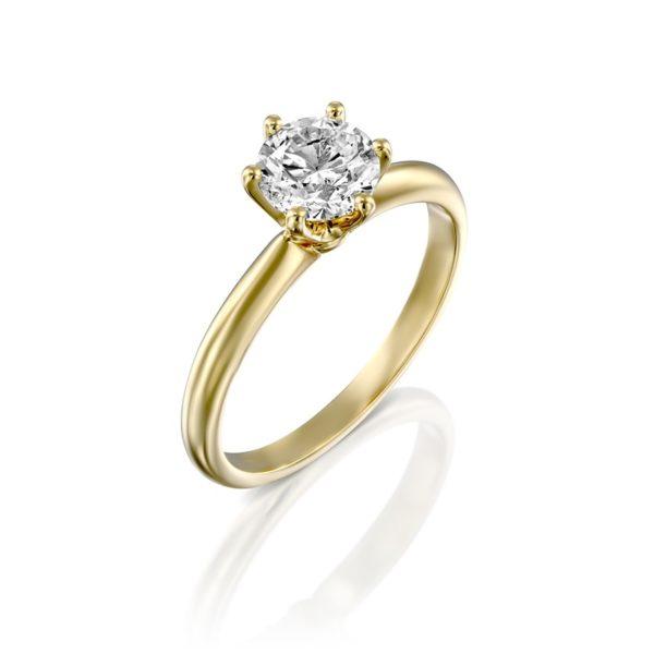 טבעת אירוסין סוליטר קלאסית זהב צהוב 1 קראט