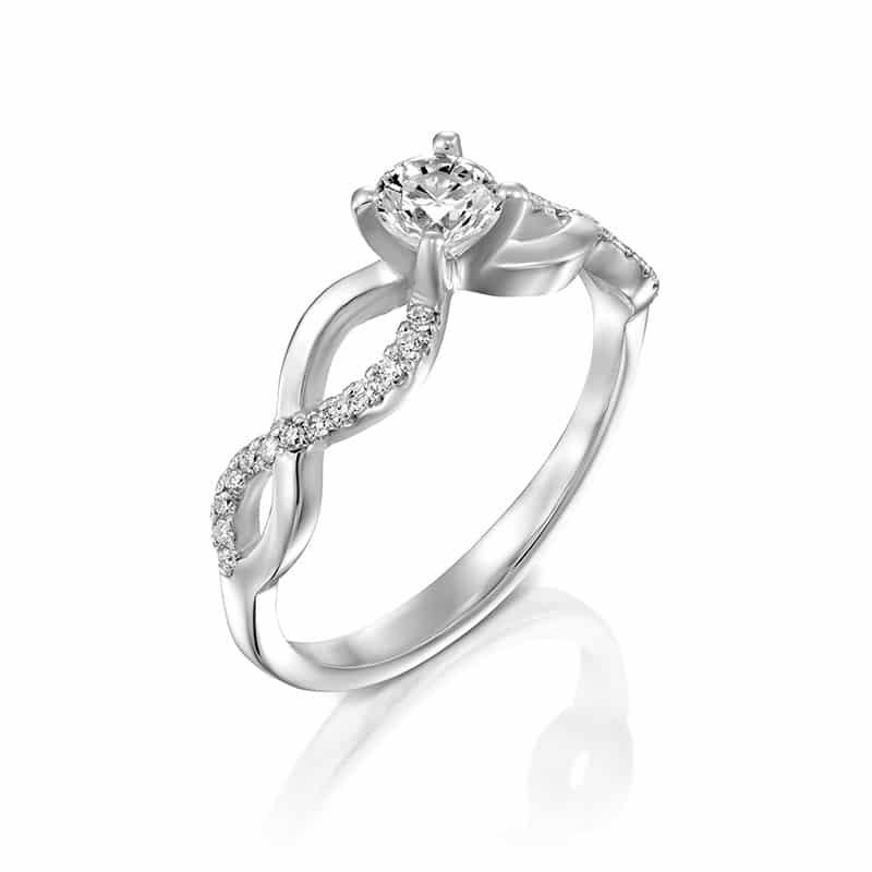 טבעת אירוסין מלאגה זהב לבן, 0.48 קראט