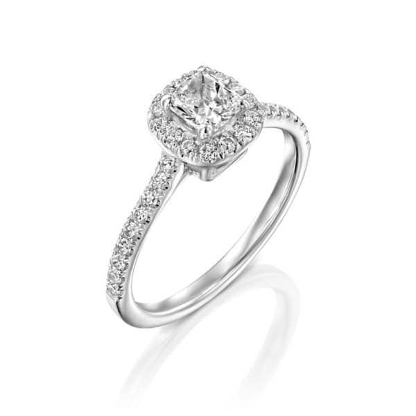 טבעת אירוסין חיחון זהב לבן, 0.85 קראט