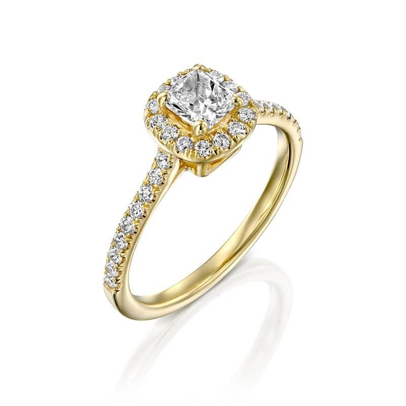 טבעת אירוסין קושן שיבוץ HALO זהב צהוב