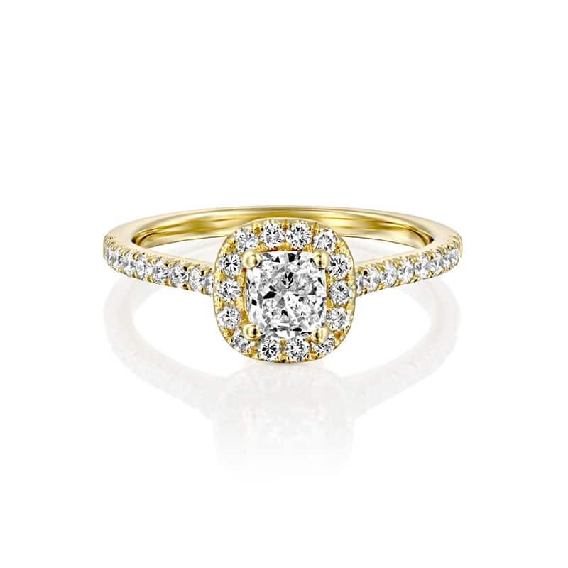 טבעת אירוסין קושן זהב צהוב
