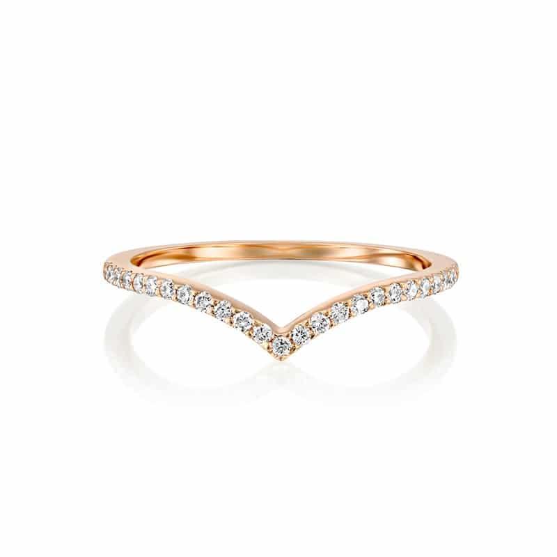 טבעת יהלומים V זהב אדום
