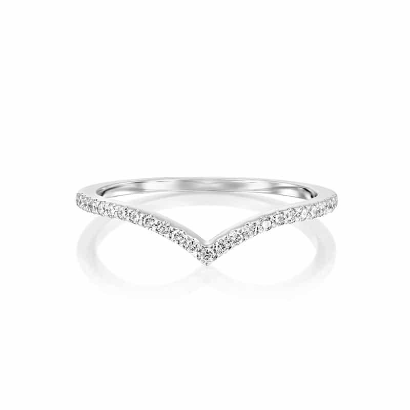 טבעת יהלומים V זהב לבן
