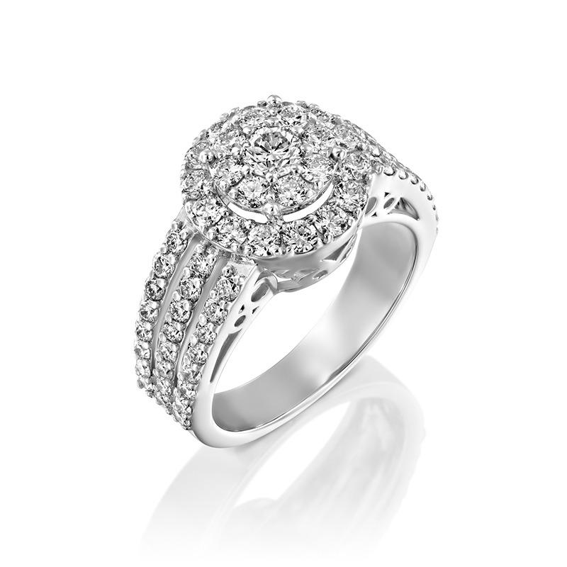 טבעת אירוסין מפוארת 2.20 קראט זהב לבן