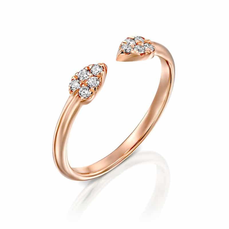 טבעת יהלומים טיפות עדינה זהב אדום