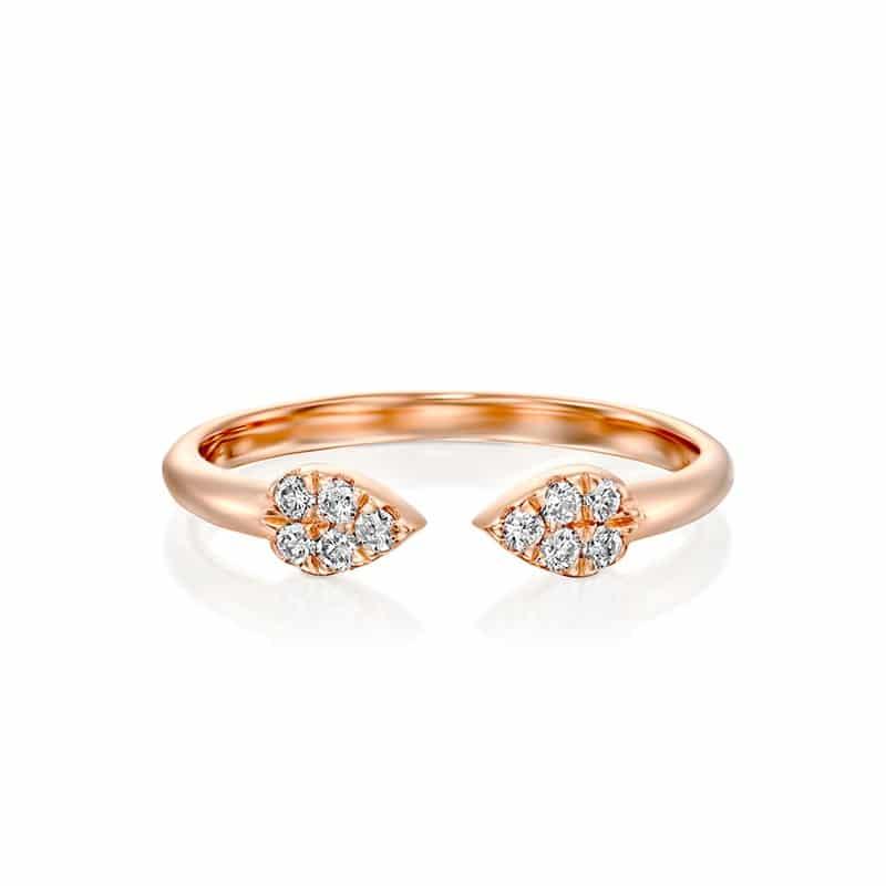 טבעת יהלומים טיפות זהב אדום