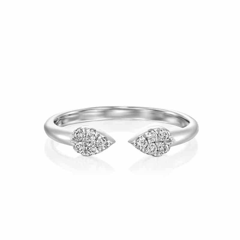 טבעת יהלומים עדינה עם טיפות זהב לבן