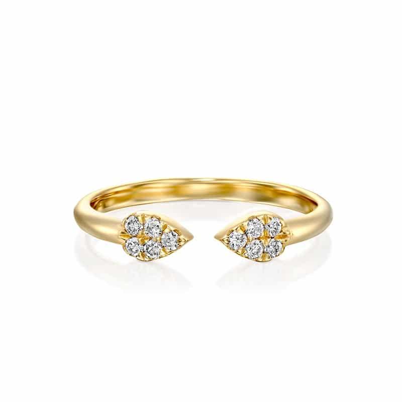 טבעת יהלומים טיפות זהב צהוב
