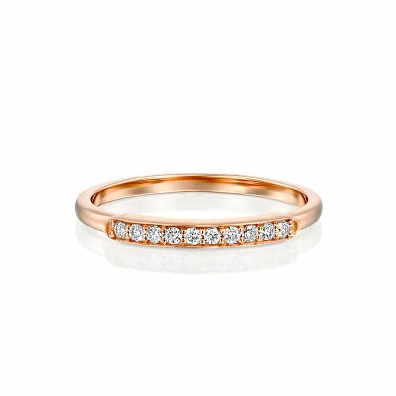 טבעת יהלומים שורה זהב אדום