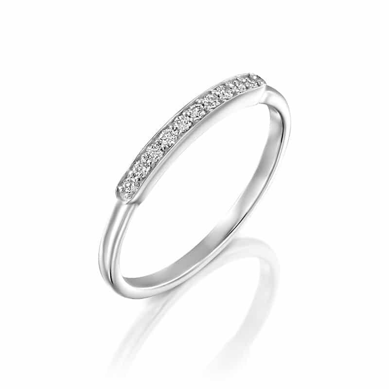 טבעת מעוצבת קופסת שורת היהלומים