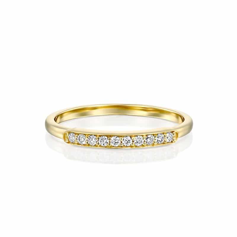 טבעת יהלומים שורה זהב צהוב