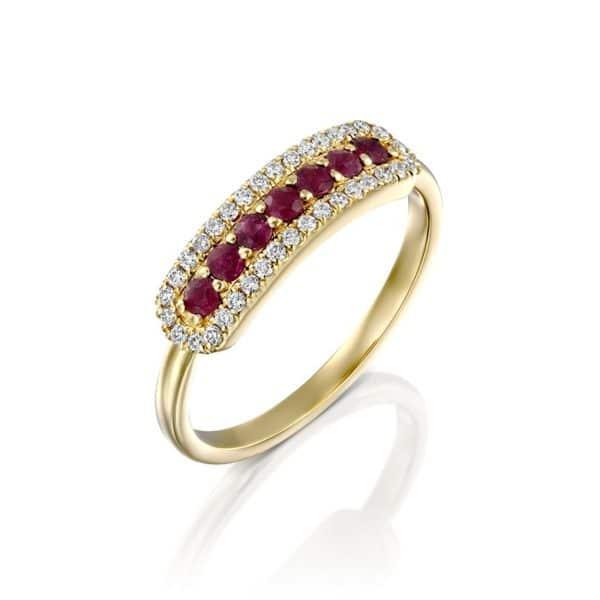 טבעת אבן חן ויהלומים שרי