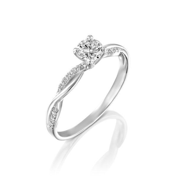 טבעת אירוסין רוזה זהב לבן 0.45 קראט