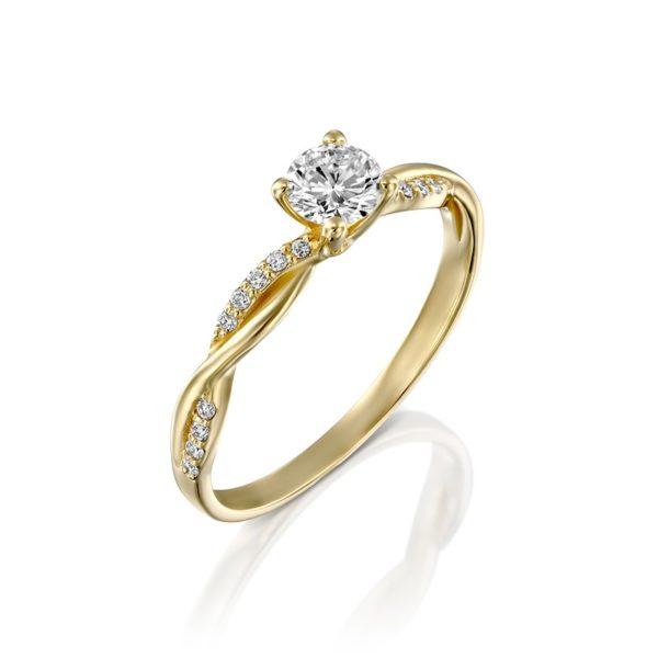 טבעת אירוסין רוזה זהב צהוב 0.45 קראט