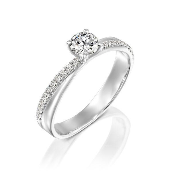 טבעת אירוסין זהב לבן מוניקה  0.65 קראט