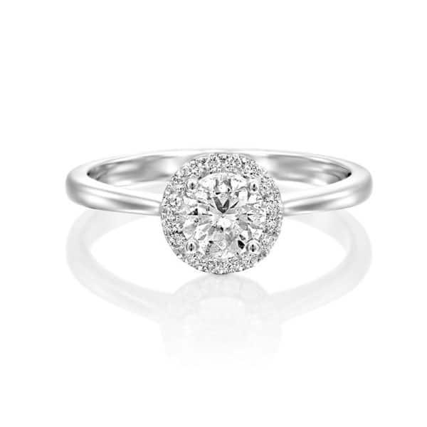 טבעת אירוסין היילו קלאסי זהב לבן 0.60 קראט