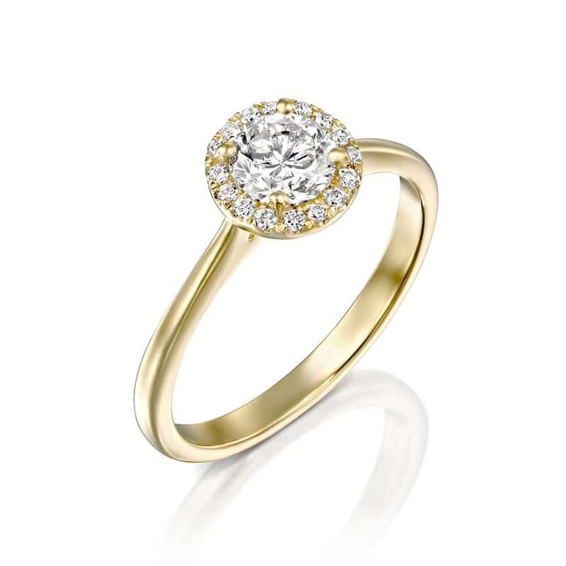 טבעת אירוסין היילו קלאסי זהב צהוב 0.60 קראט