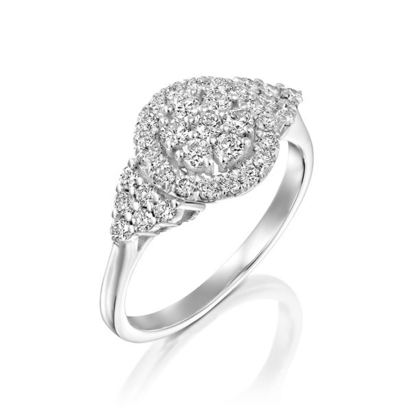 טבעת אירוסין זהב לבן אליזבת זהב לבן  0.70 קראט