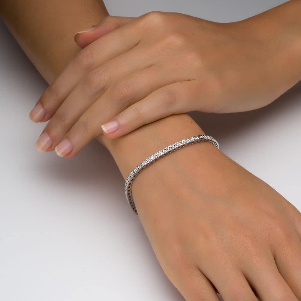 צמיד טניס יהלומים קלאסי קוביות  0.72 קראט