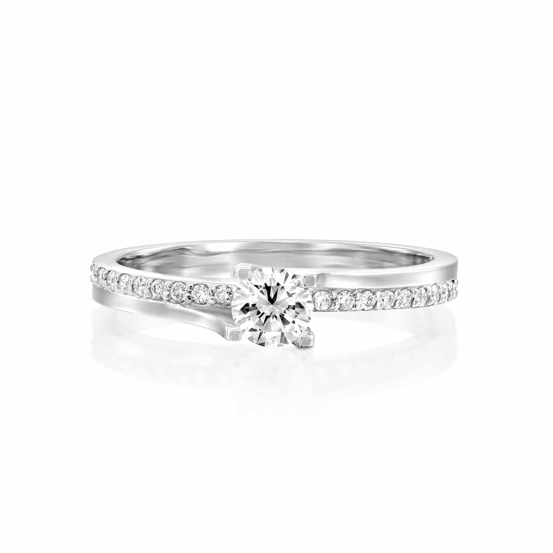 טבעת אירוסין נוריץ' זהב לבן, 0.41 קראט