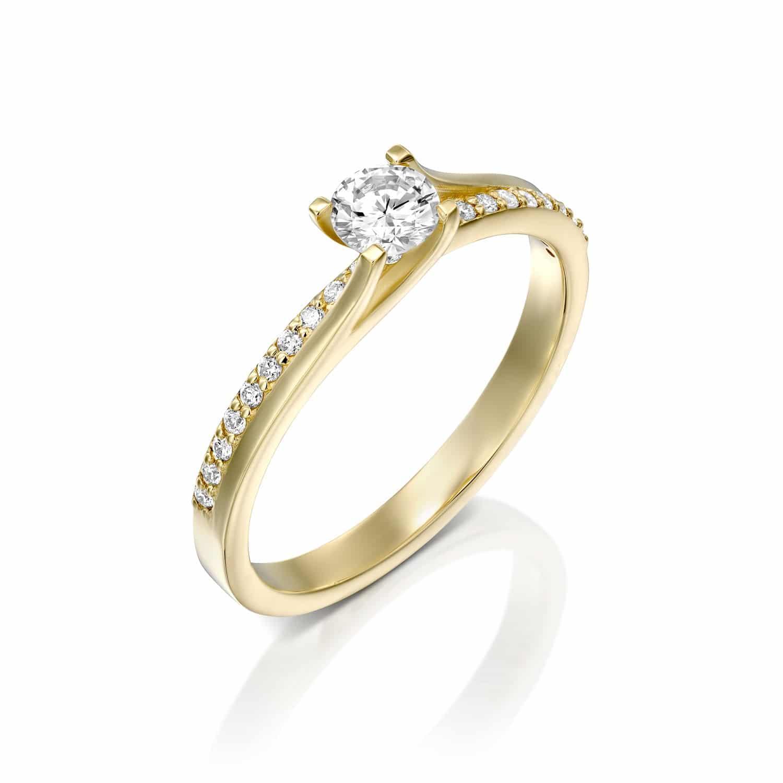 טבעת אירוסין נוריץ' זהב צהוב, 0.41 קראט