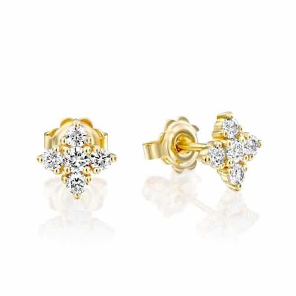 עגילי יהלומים צמודים אנג'לה