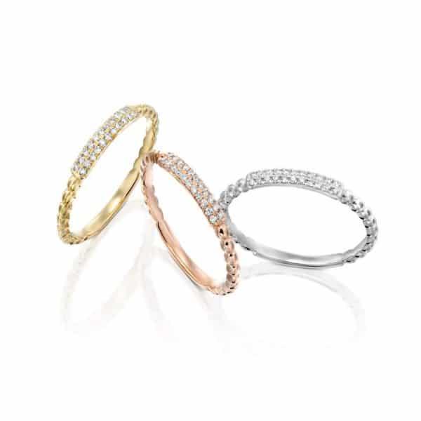 טבעת סטפני 2 שורות יהלומים