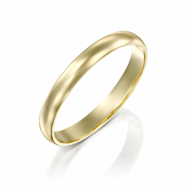 טבעת נישואין קלאסית חצי עגולה 3 מ