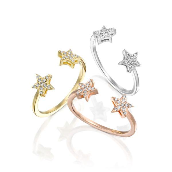 טבעת יהלומים כוכבים פתוחה