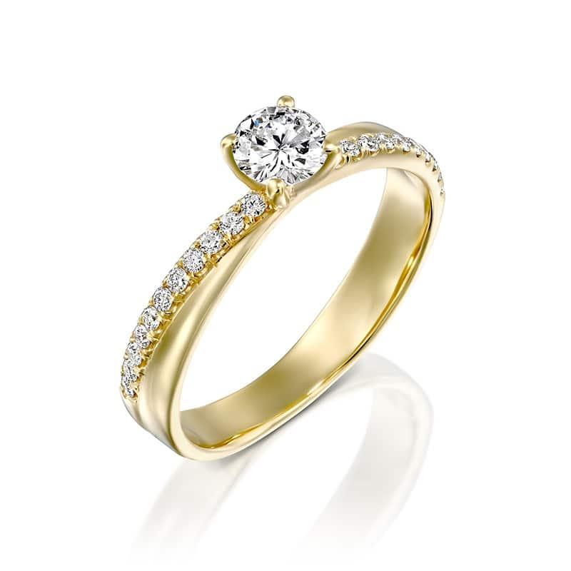 טבעת אירוסין זהב צהוב מוניקה  0.65 קראט