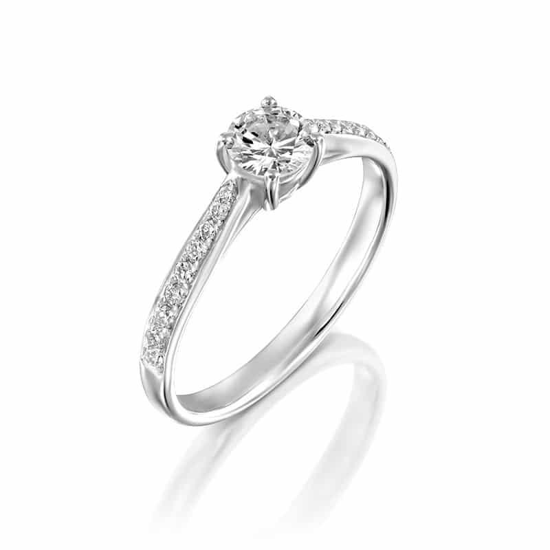 טבעת אירוסין ג'ניפר זהב לבן 0.58 קראט