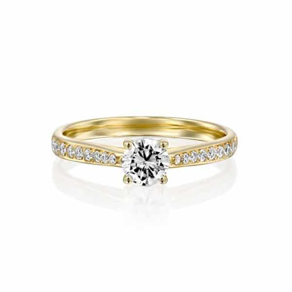 טבעת אירוסין ג'ניפר זהב צהוב 0.58 קראט