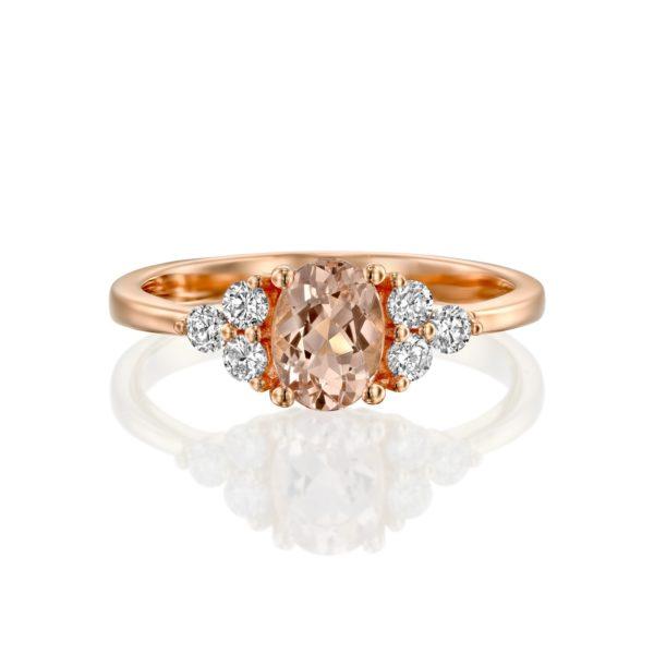 טבעת יהלומים וטורמלין