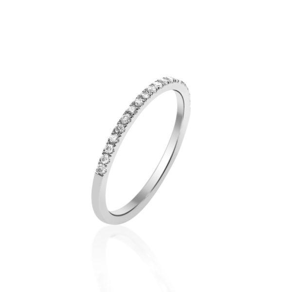 טבעת יהלומים חצי נישואים 0.10 קראט