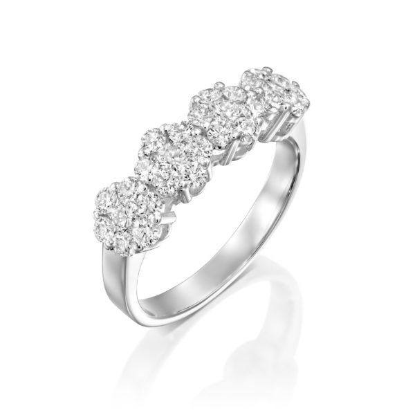טבעת יהלומים חמש פרחים