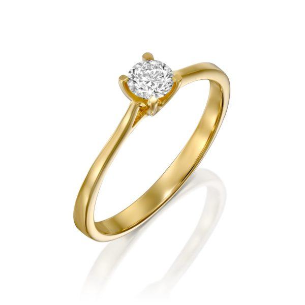טבעת אירוסין מרבאה 0.25 קראט זהב צהוב