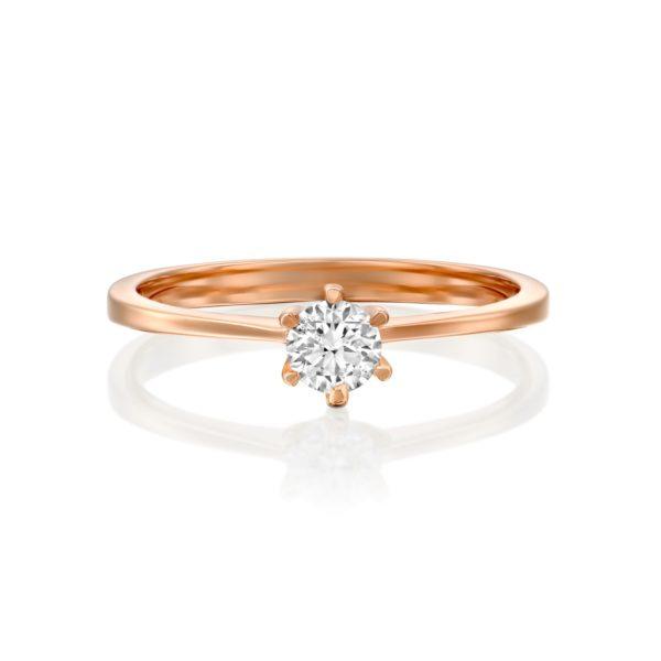 טבעת אירוסין ונציה 0.25 קראט זהב אדום