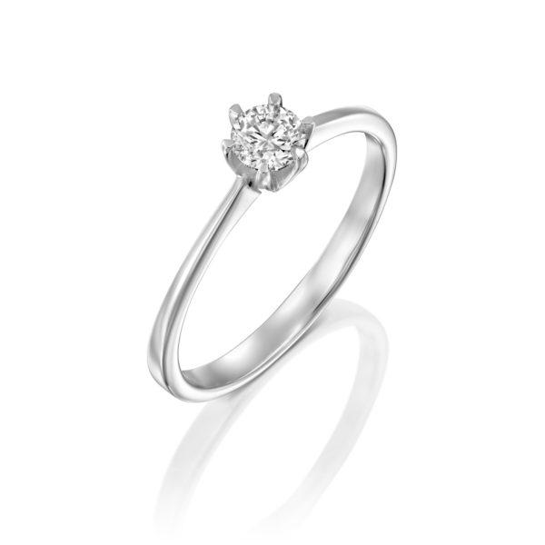 טבעת אירוסין ונציה 0.25 קראט זהב לבן