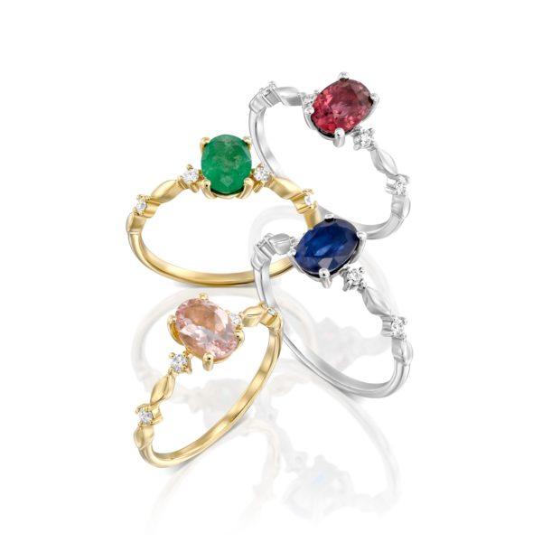 טבעת אבן חן ויהלומים גאיה