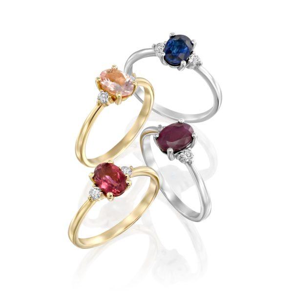 טבעת אבן חן ויהלומים טארה