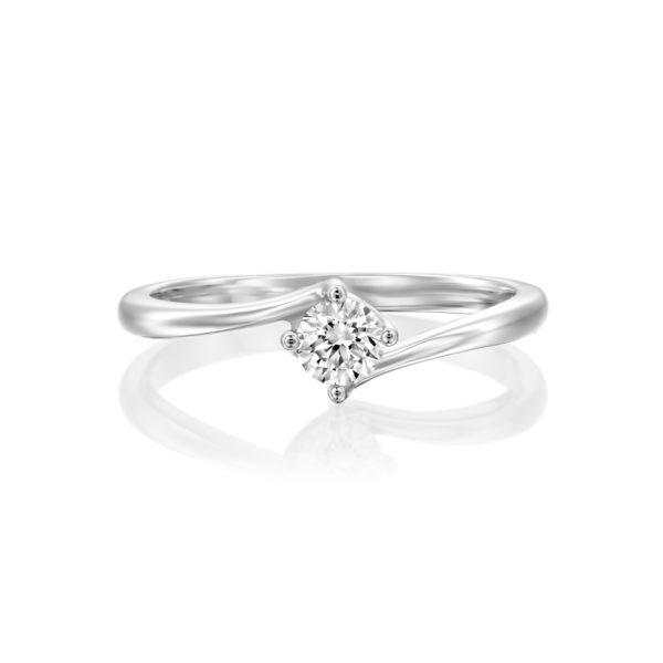 טבעת אירוסין קנקון זהב לבן 0.25 קראט