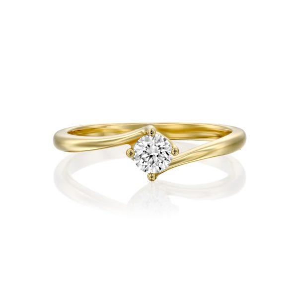טבעת אירוסין קנקון 0.25 קראט זהב צהוב