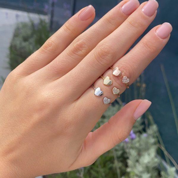 טבעת יהלומים לבבות